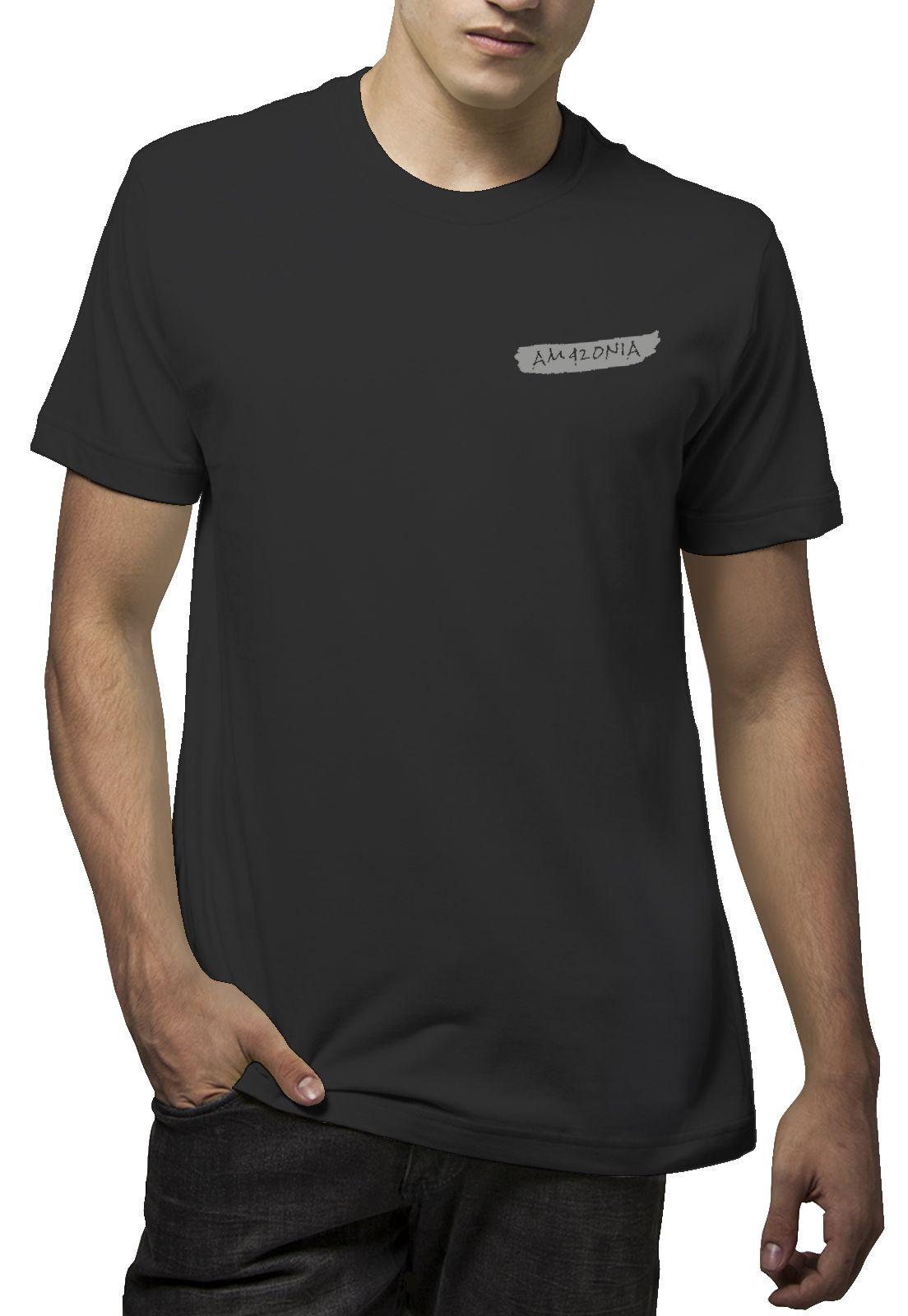Camiseta Amazônia Penas - Preto