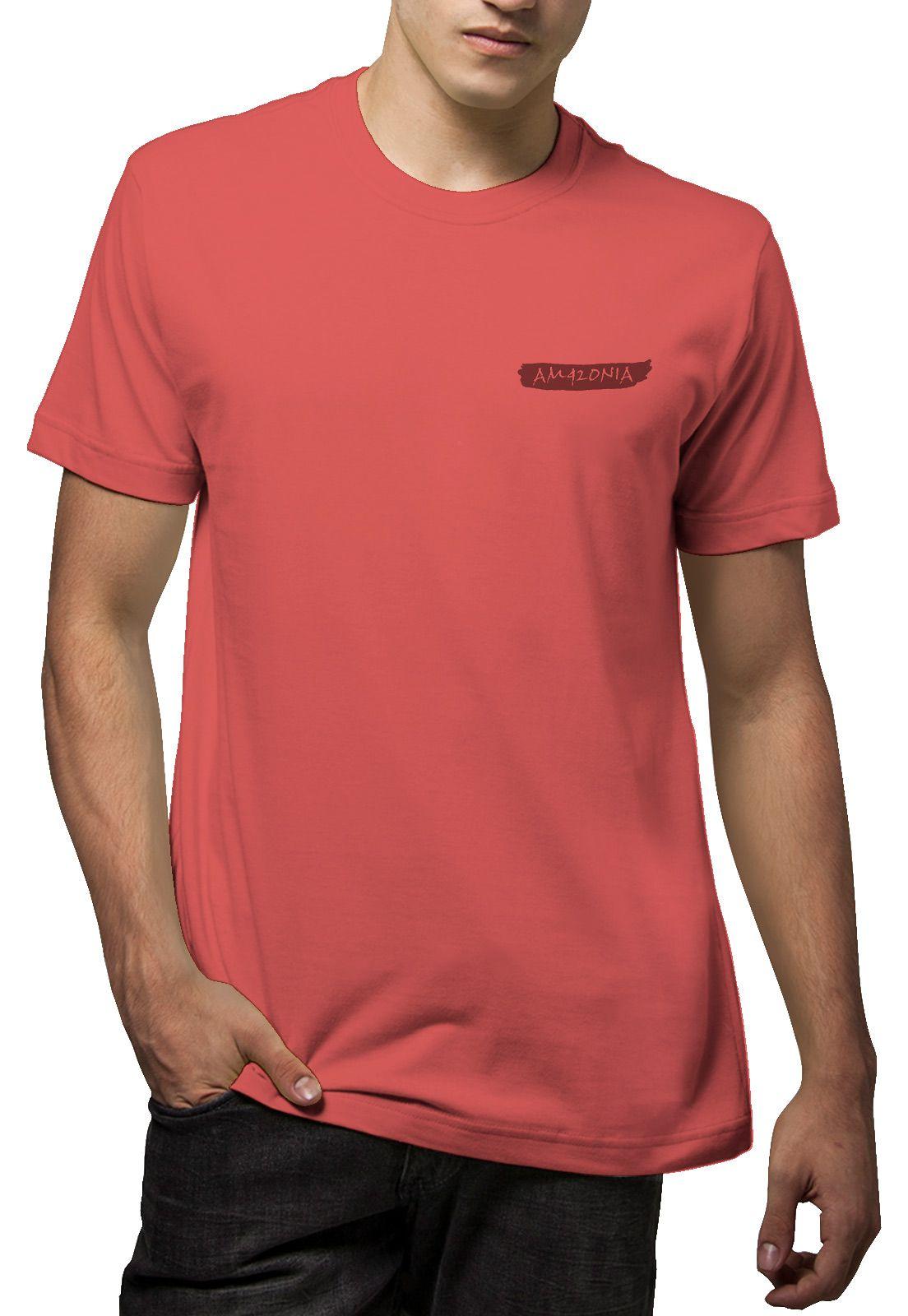 Camiseta Amazônia Penas - Vermelho