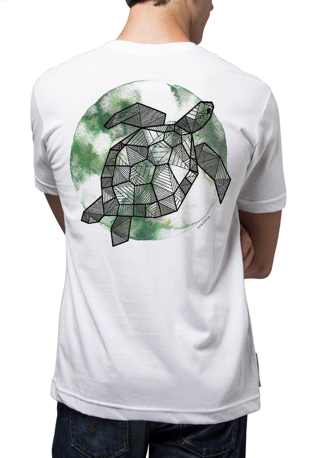 Camiseta Amazônia Tartaruga Grafismo - Branco