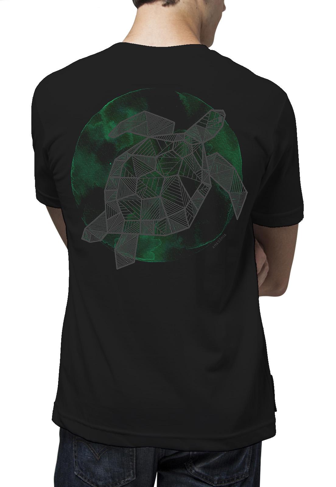 Camiseta Amazônia Tartaruga Grafismo - Preto