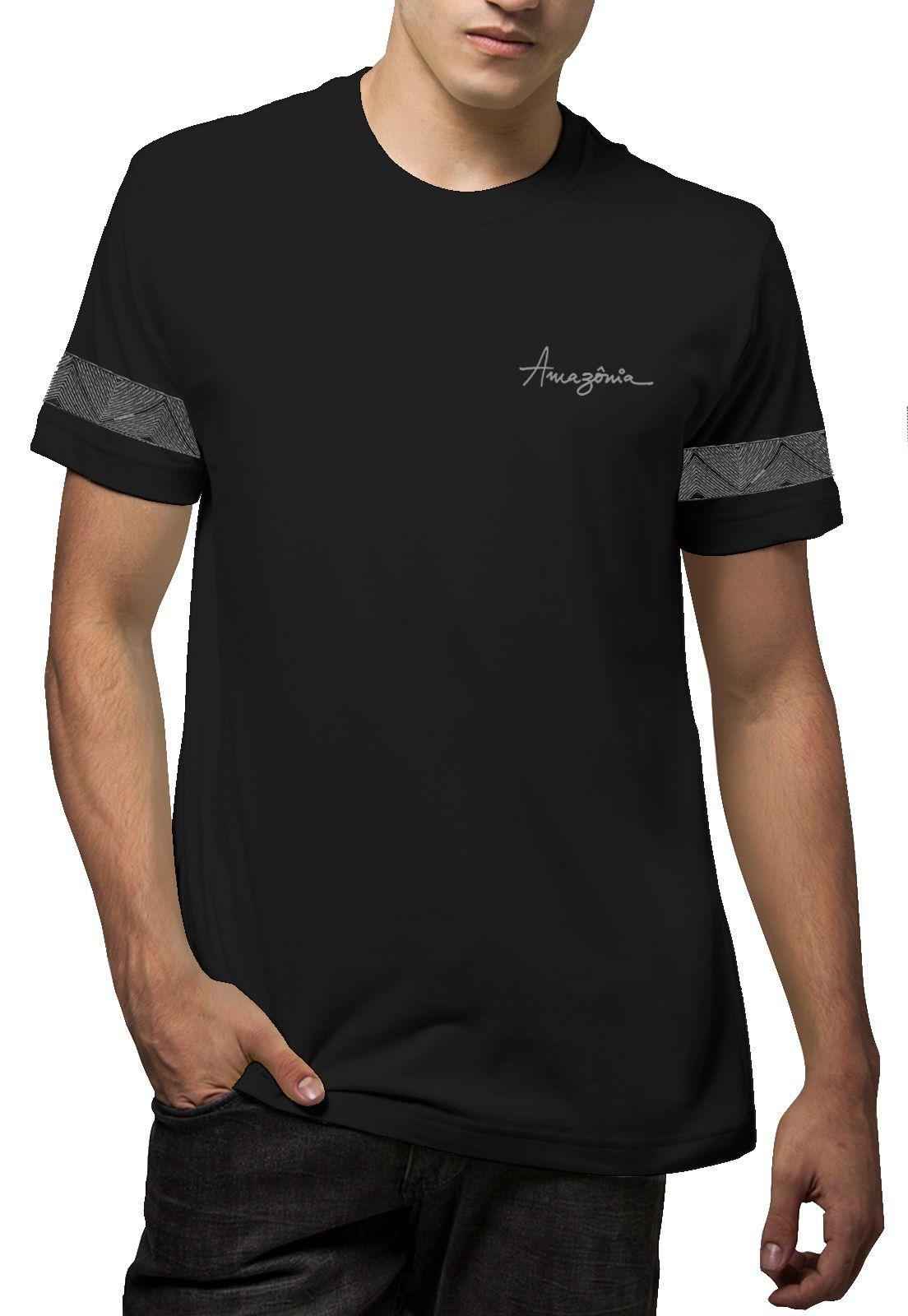 Camiseta Amazônia Tribal Braço - Preto