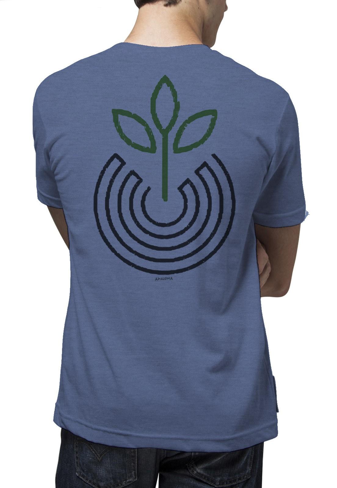 Camiseta Amazônia Vibração Positiva - Mescla Azul