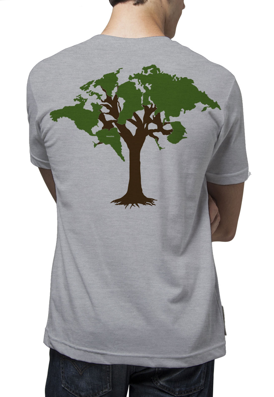 Camiseta Amazônia World Tree - Mescla Claro