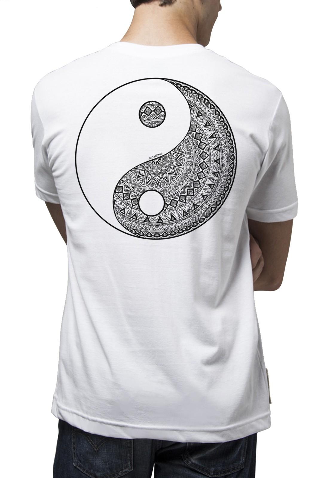 Camiseta Amazônia Yin Yang Tribal - Branco