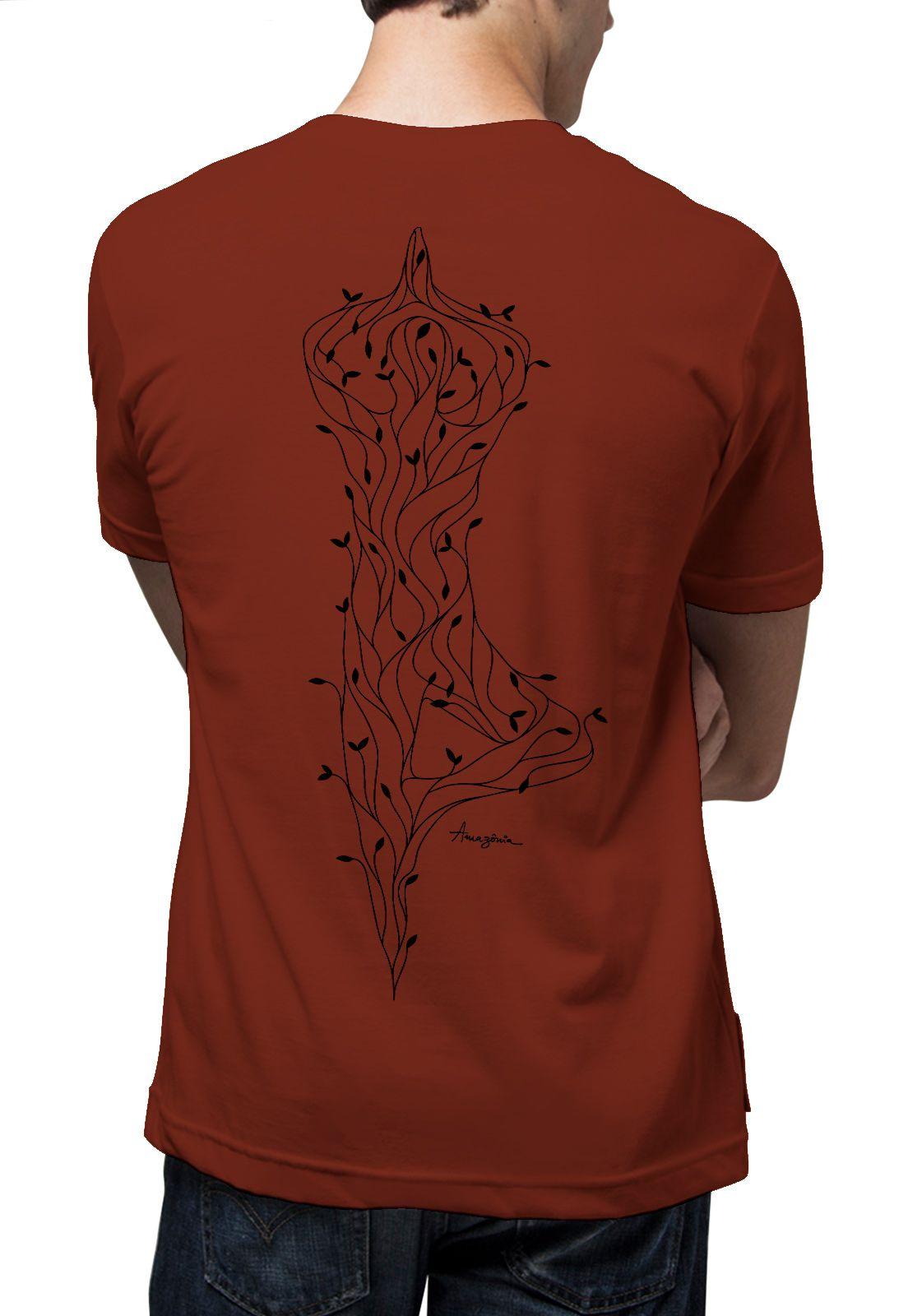 Camiseta Amazônia Yoga Árvore - Vinho