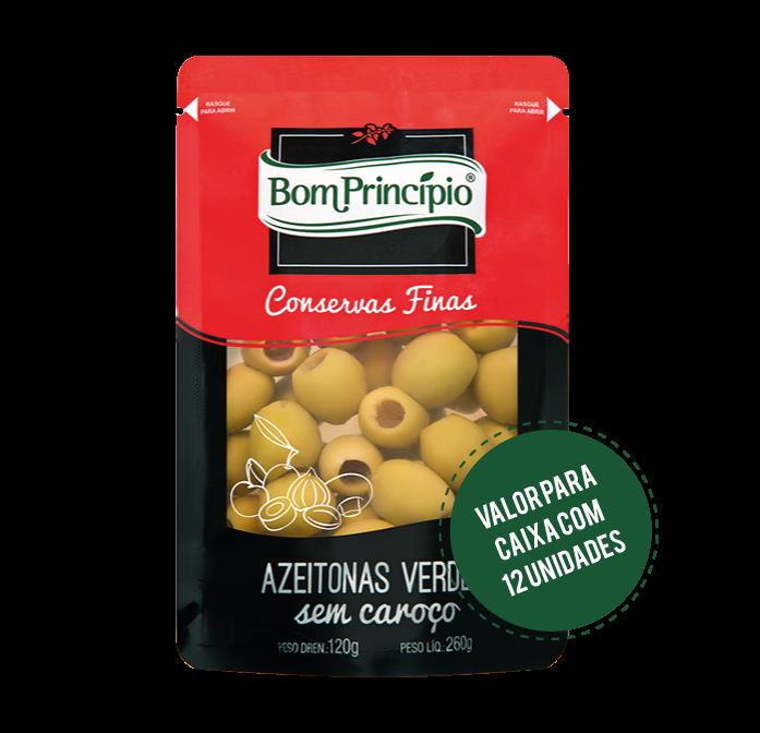 Azeitonas Verdes sem Caroço Pouch 120g ( Caixa com 12 unidades )