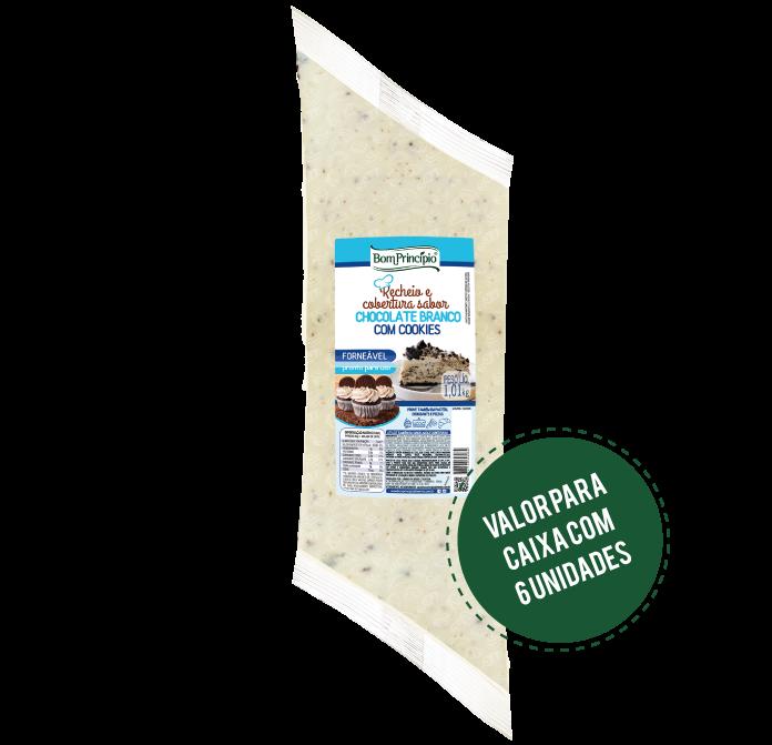 Recheio e Cobertura Sabor Chocolate Branco com Cookies 1,01kg ( Caixa com 6 unidades )