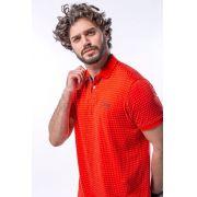Camisa Polo Masculina em Malha Jacquard - Vermelha