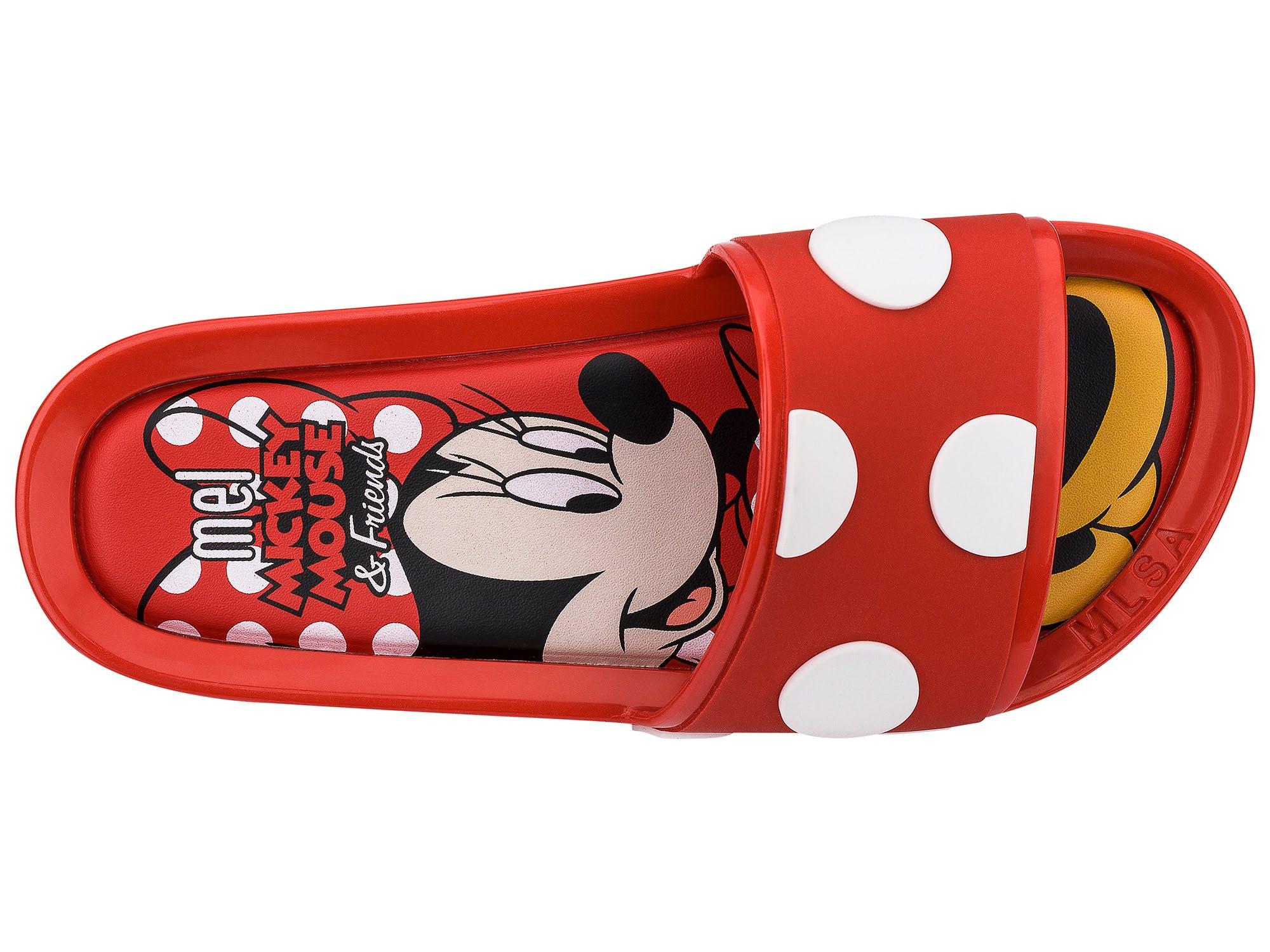 Melissa Mel Beach Slide Mickey and Friends II Vermelho Branco