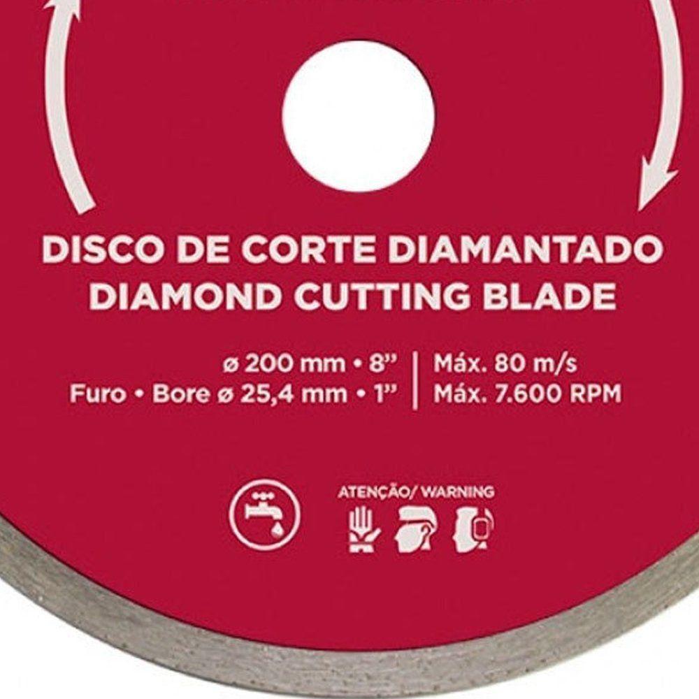 DISCO DIAMANTADO LISO PARA CORTES EM PISOS DE 200 MM - 60570