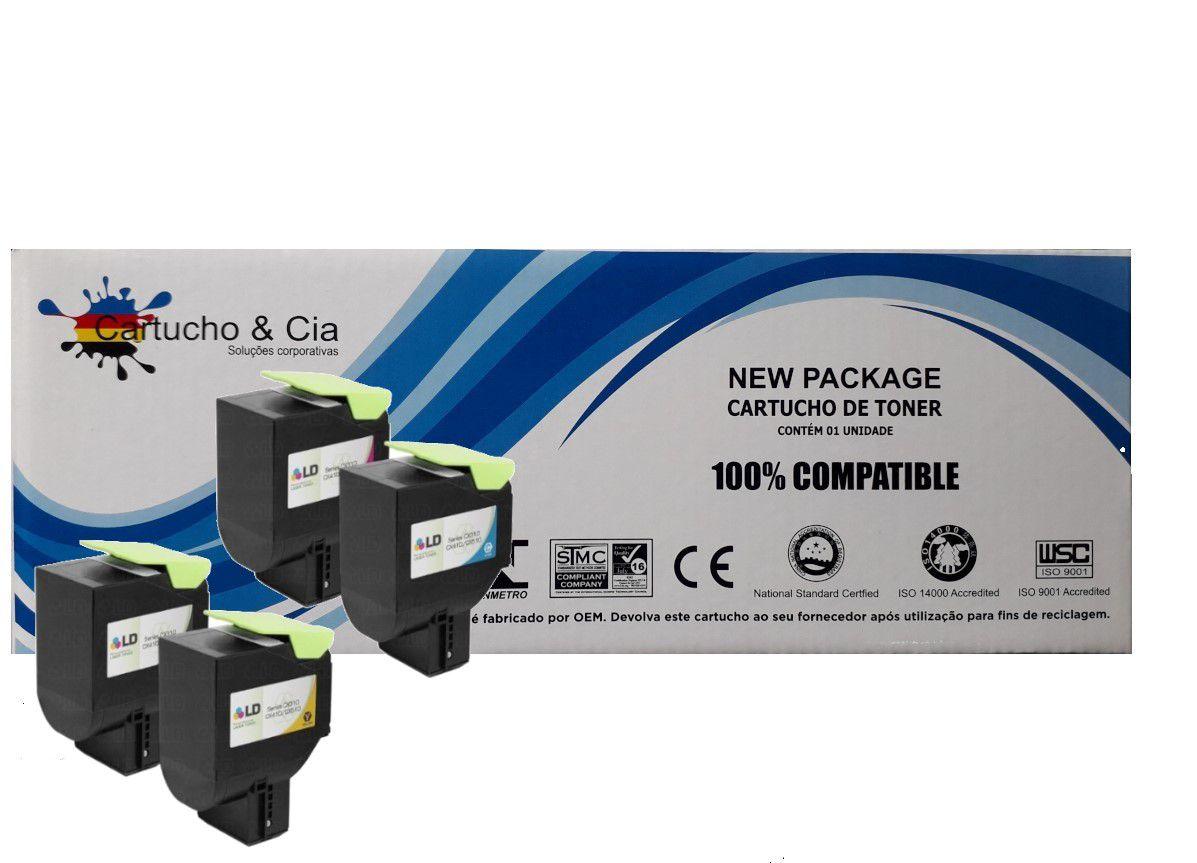 Kit 4 Toners compatíveis Lexmark 80C8SK0 CX/CS 310 410 510 4k e 3k B/M/C/Y - Cartucho & Cia