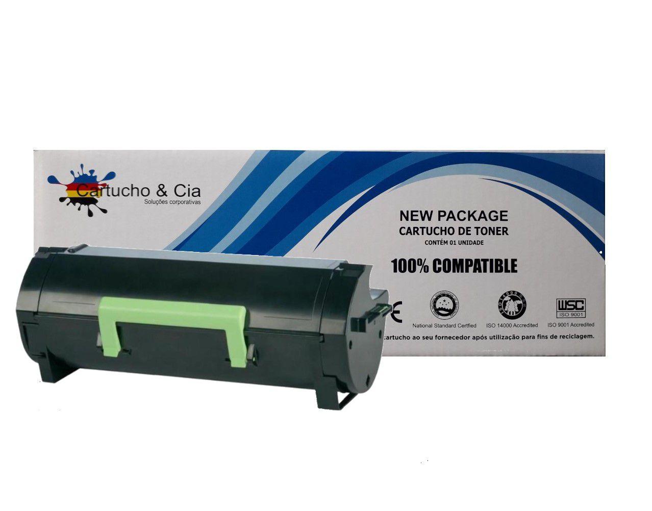 Toner compatível com LEXMARK 51B 51B00A0 MS317DN MX317DN Black 2.500 Páginas - Cartucho & Cia