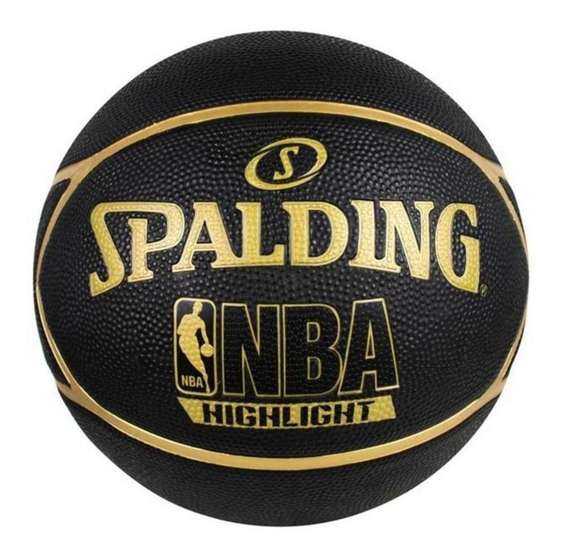 BOLA BASQUETE NBA SPALDING HIGHLIGHT TAM. 7 - PRETO E DOURADO