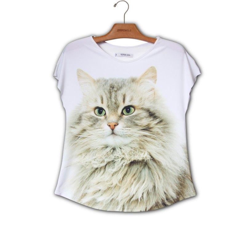Camiseta Evasê Gato Dourado - 340730