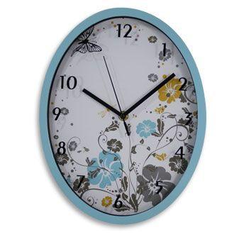 Relógio de Parede Floral Azul - G10 138946