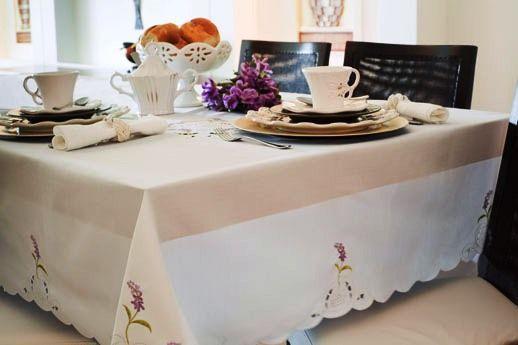 Toalha Mehndi Momentos Lavanda Branca 180cm  - Redonda - 210478