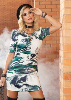 Vestido Lacinho Print Verde