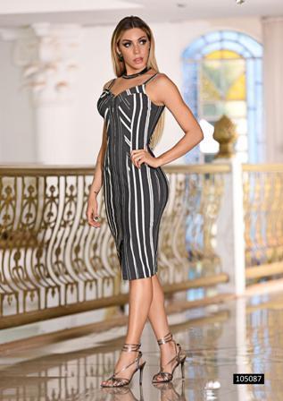 Vestido Stripes Zíper Front