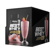 BEST WHEY ISO DISPLAY COM 15 SACHÊS MORANGO
