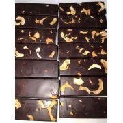 Barra de chocolate 60% de cacau ao leite com castanha de caju 100 g