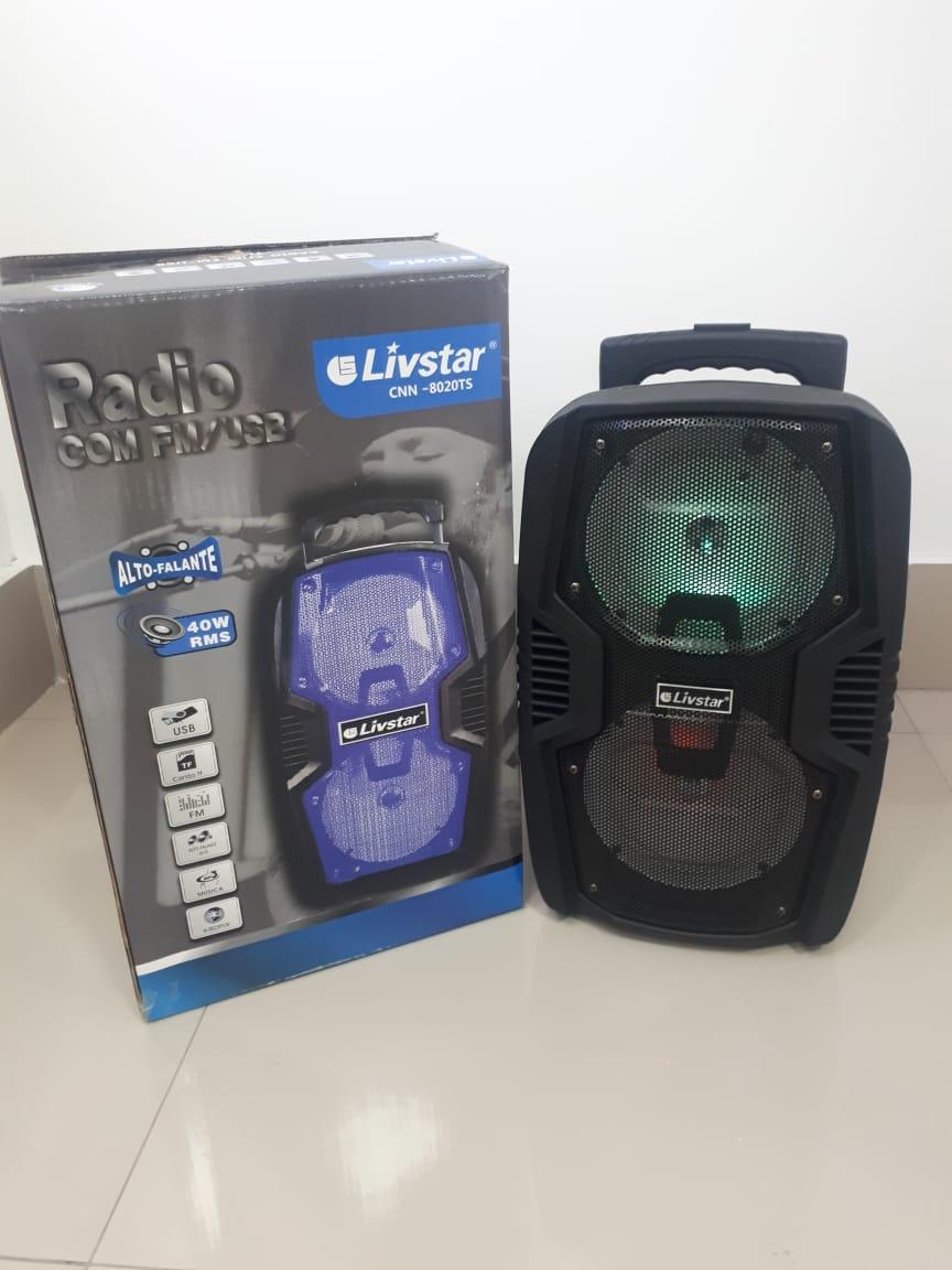 Caixa Amplificada Livstar Cnn8020ts Blue.usb/sd/fm/mic 40wrms