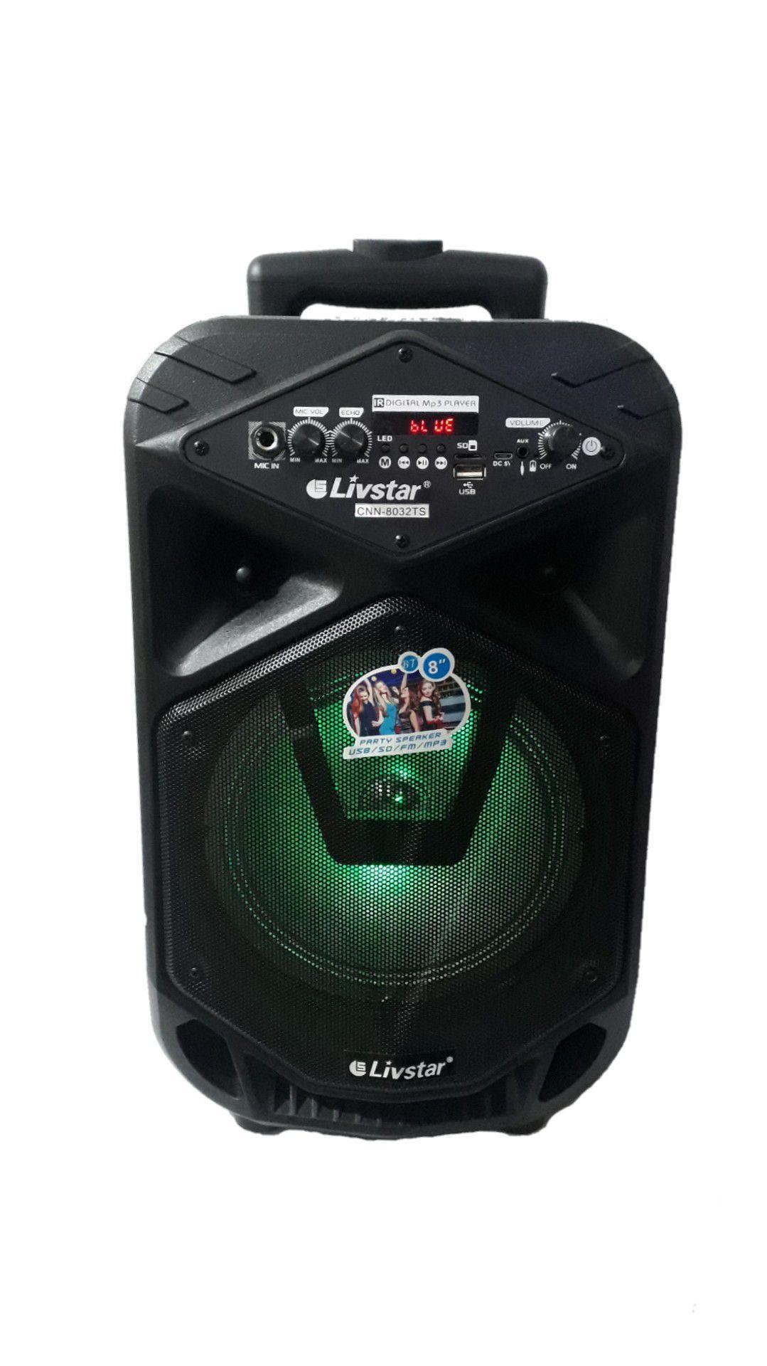 Caixa Amplificada Livstar Cnn8032ts Fal8 Usb/sd/fm Aux P10 Display Bat Recar