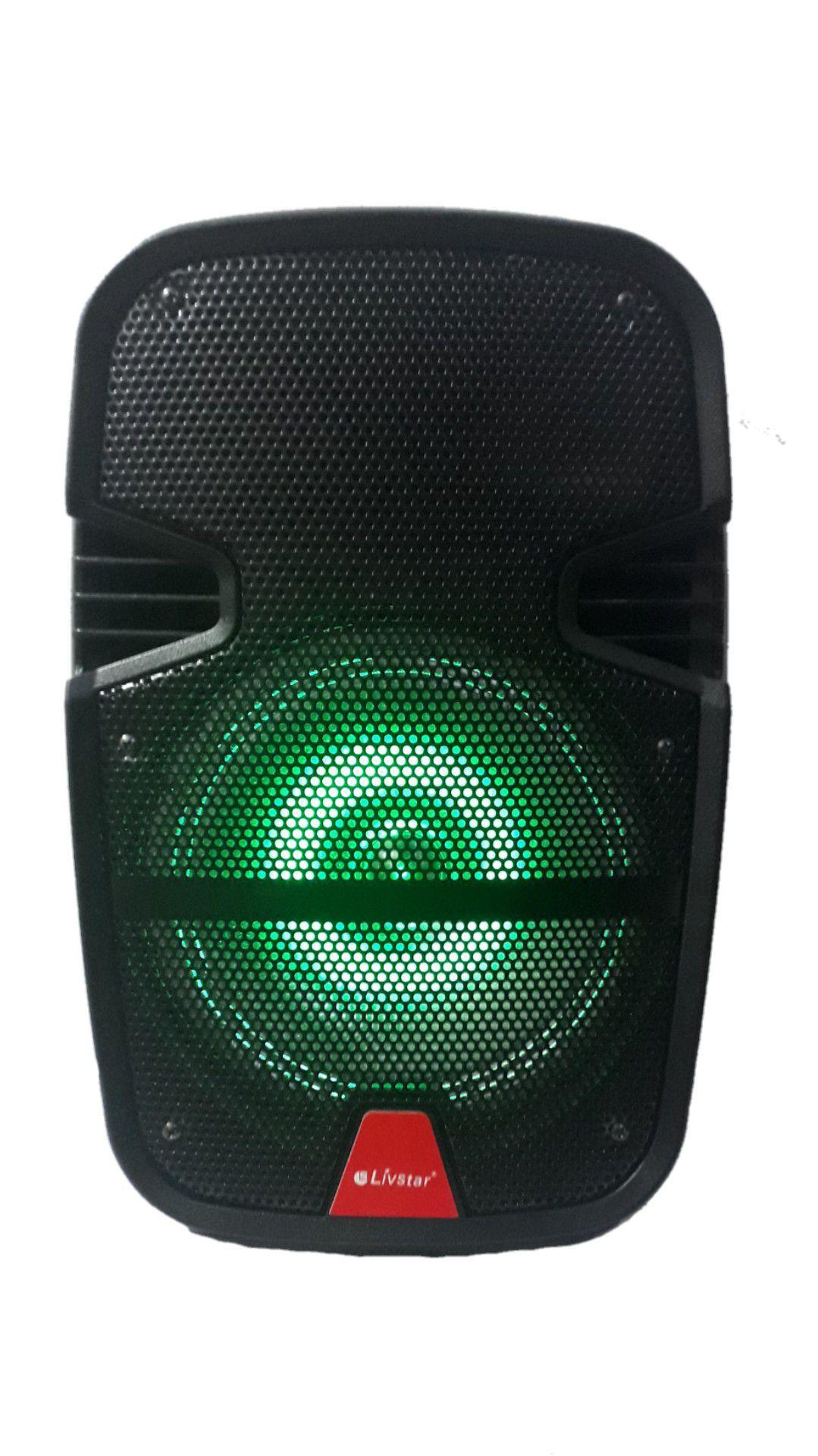 Caixa Amplificada Livstar Cnn8058ts Fal8 Eco Usb/sd/fm Aux P10 Display Bat Recar