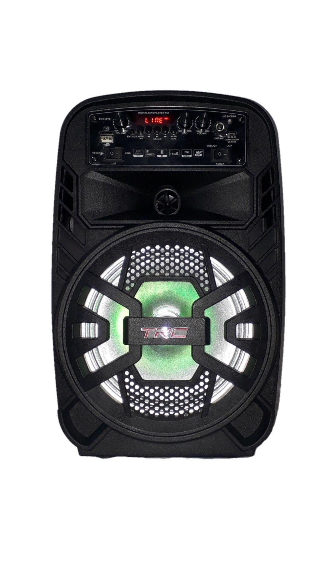Caixa Amplificada Trc 510 Fal8 Usb/sd/blue/fm P10 1mic C/fio Control Bat 100w