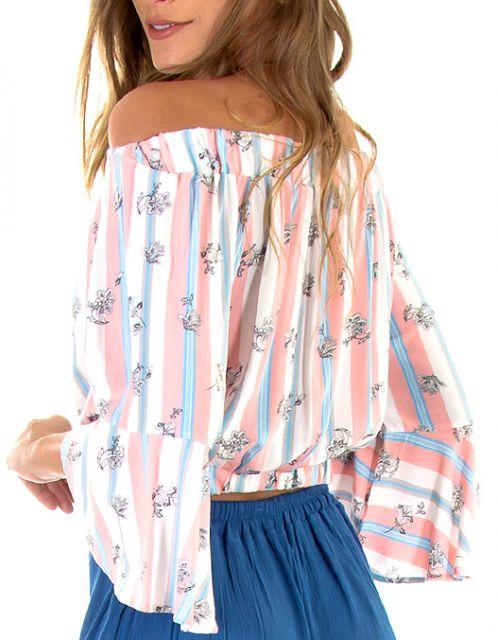 Blusa OCNA BRASIL Cropped Litoral Estampada Rosa