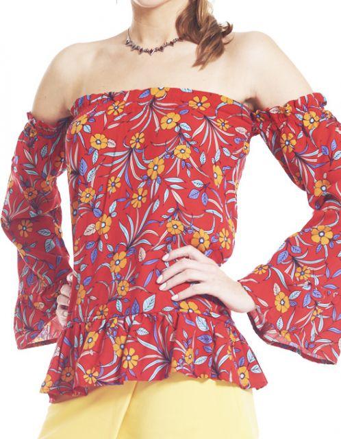 Blusa OCNA BRASIL de Babados Clívia Floral Vermelha