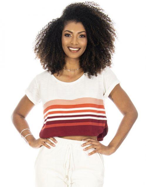 Camiseta OCNA BRASIL Cropped Listrada OffWhite