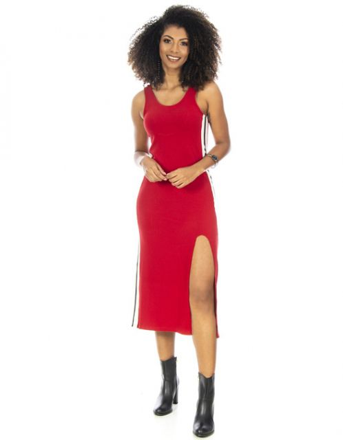 Vestido Midi OCNA BRASIL Ribana Vermelho