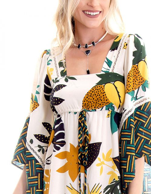 Vestido OCNA BRASIL Boho Bromélias Abacaxi