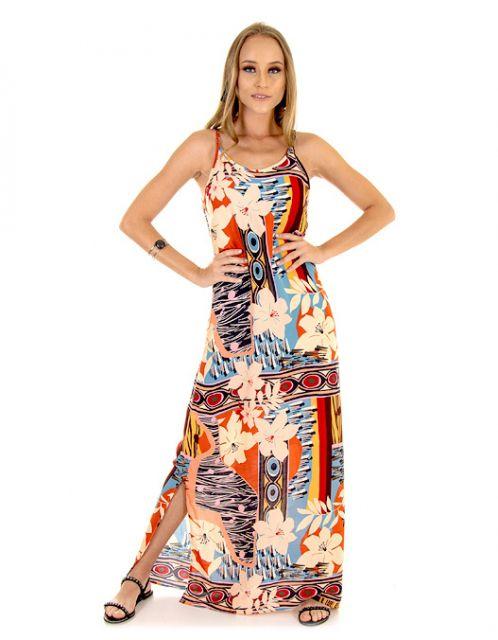 Vestido OCNA BRASIL Fau Floral Geo Laranja