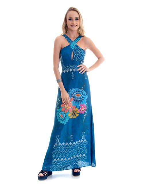 Vestido OCNA BRASIL Longo Evase Cruzado Floral Tribal Azul