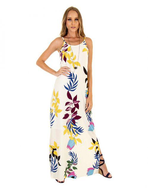 Vestido OCNA BRASIL Longo Fau Geo Floral Off White