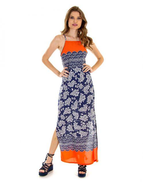 Vestido OCNA BRASIL Longo Floral Barrado Laranja e Azul
