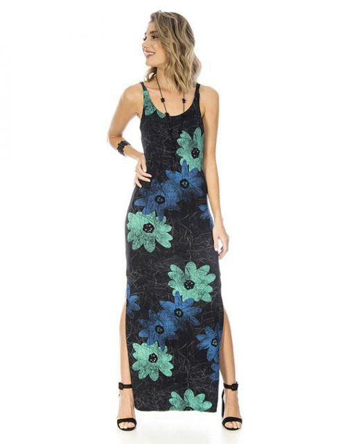 Vestido OCNA BRASIL Longo Floral Preto