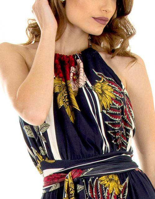 Vestido OCNA BRASIL Longo Frente Única Saia Franzida Floral Marinho
