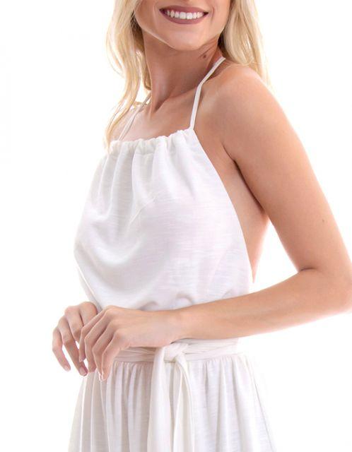 Vestido OCNA BRASIL Longo Frente Única Saia Franzida Off White