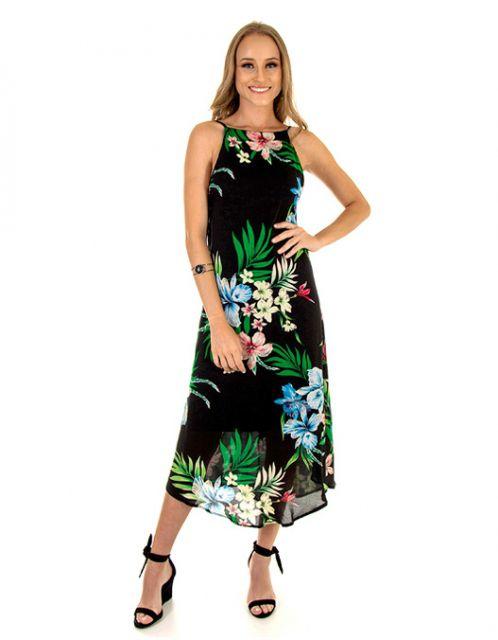 Vestido OCNA BRASIL Midi Frente Única Evasê Floral Preto