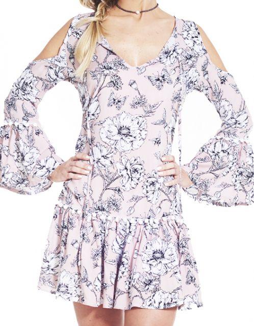 Vestido OCNA BRASIL Ombro de Fora Lily Floral Rosê