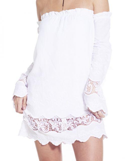 Vestido OCNA BRASIL Ombro Reto com Renda Mediterrâneo Branco