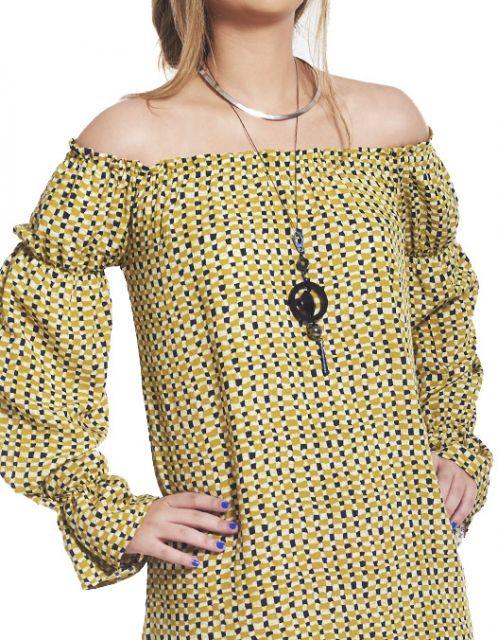 Vestido OCNA BRASIL Ombro Reto e Manga Longa Botão de Ouro Amarelo