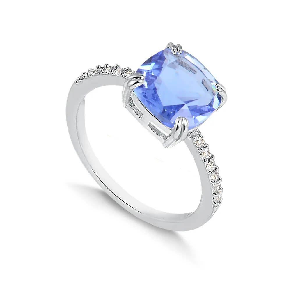 Anel solitário com pedra quadrada azul folheado em ródio branco