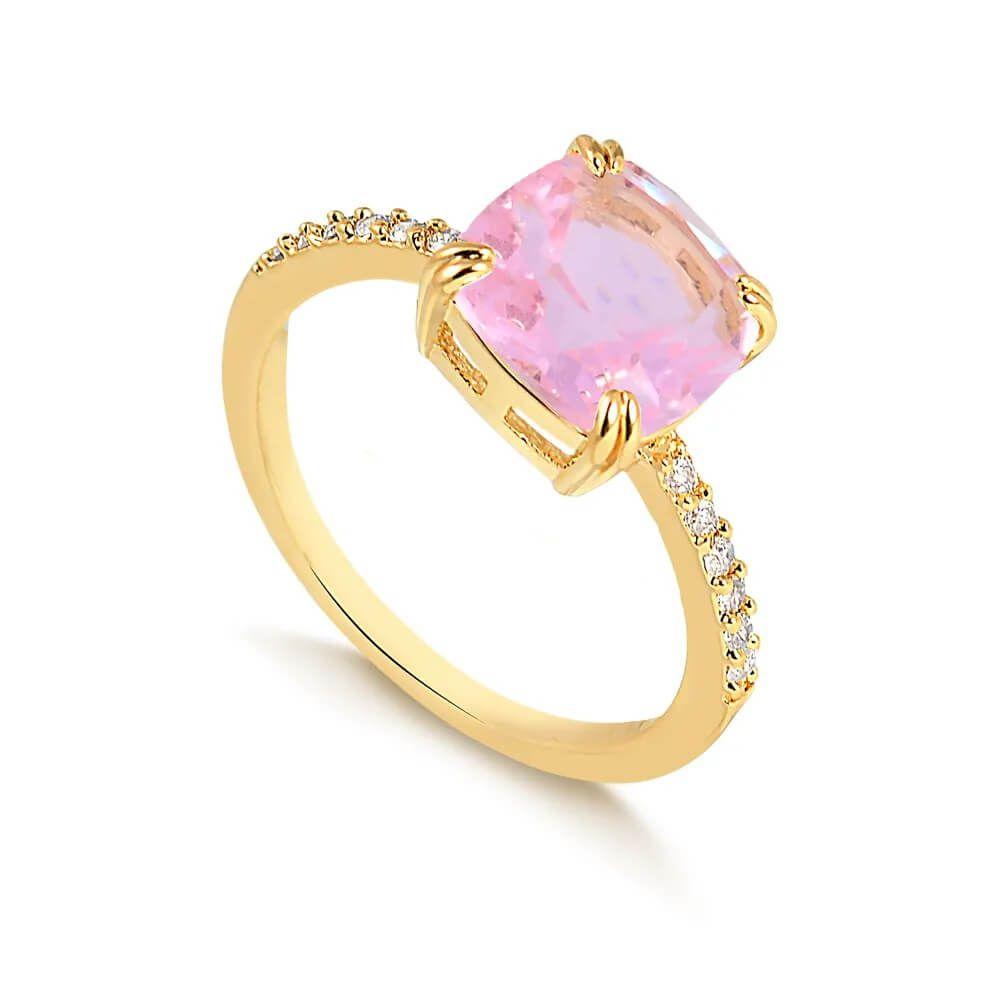 Anel solitário com pedra quadrada rosa folheado em ouro 18k