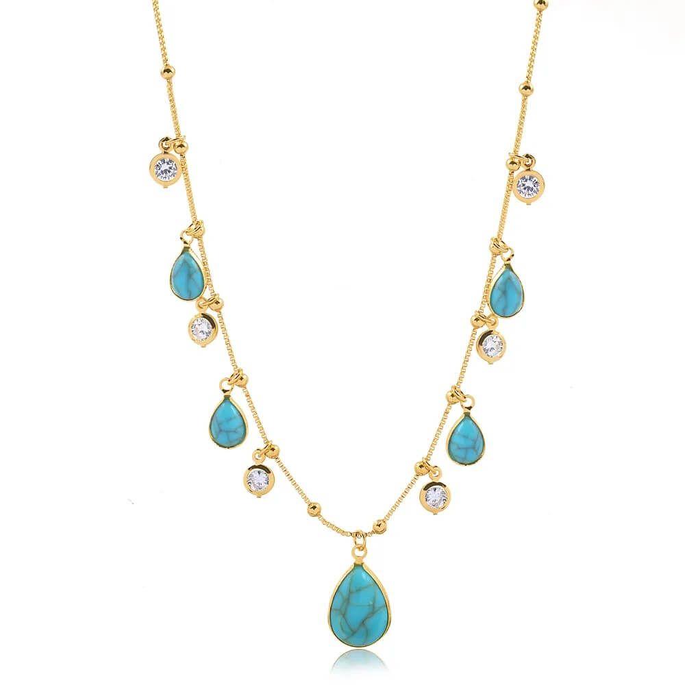 Coleira choker com pedra azul turquesa e pontos de luz folheado em ouro 18k