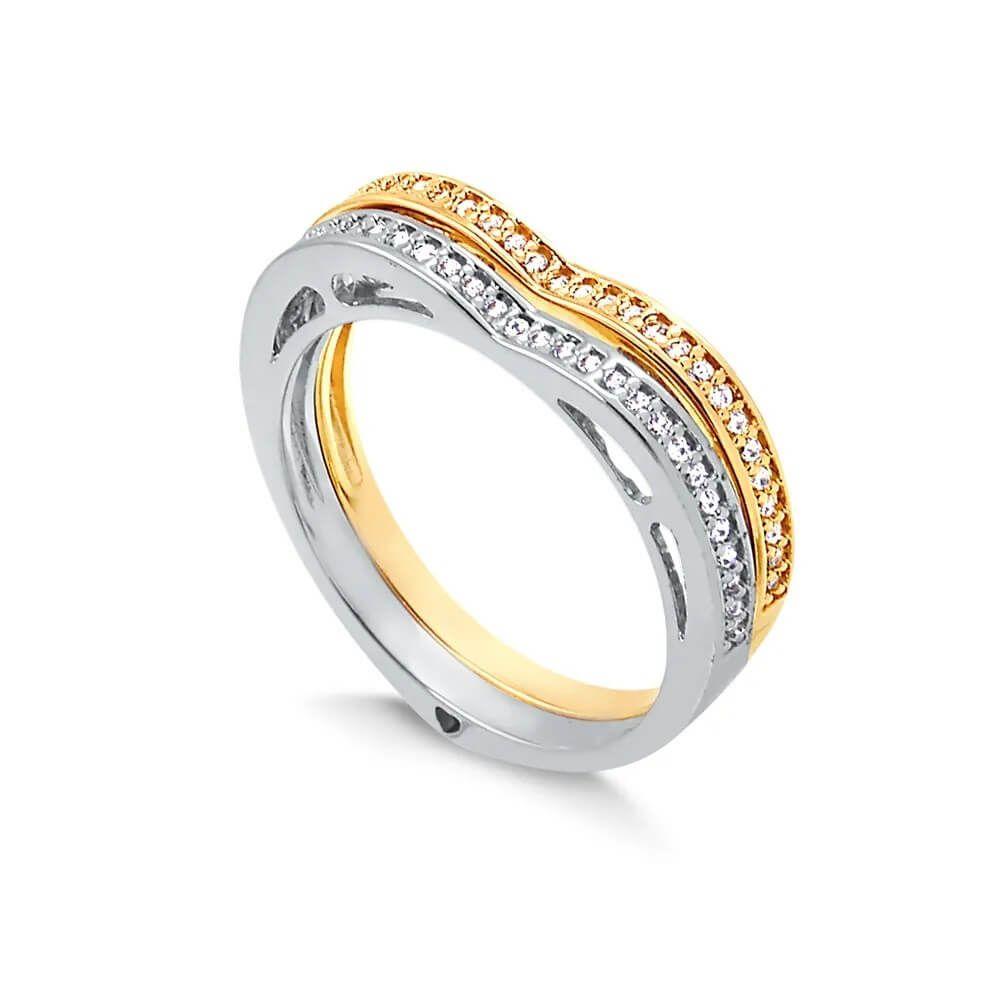 Duo de anéis com formato de coração e fileira de zircônia folheado em ródio branco e ouro 18k