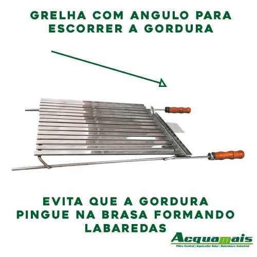 Grelha Argentina Churrasco Lateral Aberta Inox 77x48cm