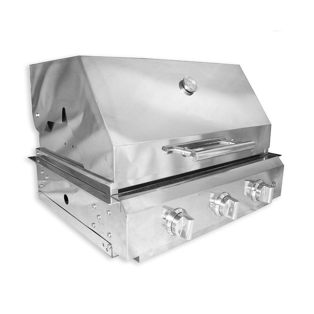 Churrasqueira Gás Embutir Inox 64,5cm 3 Queimadores C/ Tampa